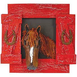 'PT-Red Barn Horse Wall Accent'