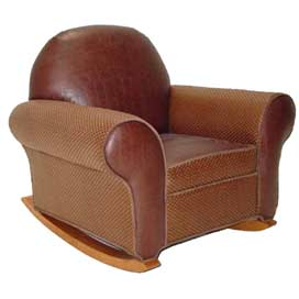 'PT-Chaps Leather & Rattan Rocker'