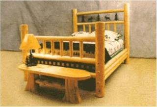 'LFD-Mtn.lodge Pine Log Poster Bed'