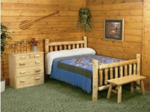 U0027LFD Low Post Cedar Log 3pc Bedroom Suiteu0027