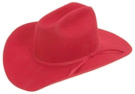 SHP-Red Wool Stetson Cowboy Hat