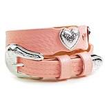 'SHP-Cowgirl Pink Leather & Hearts Belt'