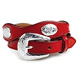 'SHP-Red Scalloped Leather Belt'